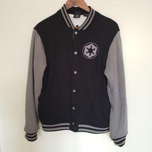 Star Wars Mens Button Up Sweatshirt Jacket Empire Imperial Logo Varsity Black S